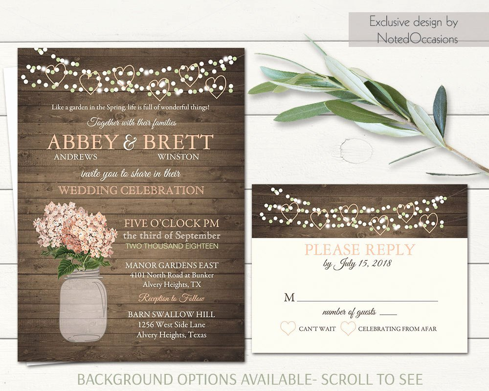 Mason Jar Wedding Invitation Printable String Lights