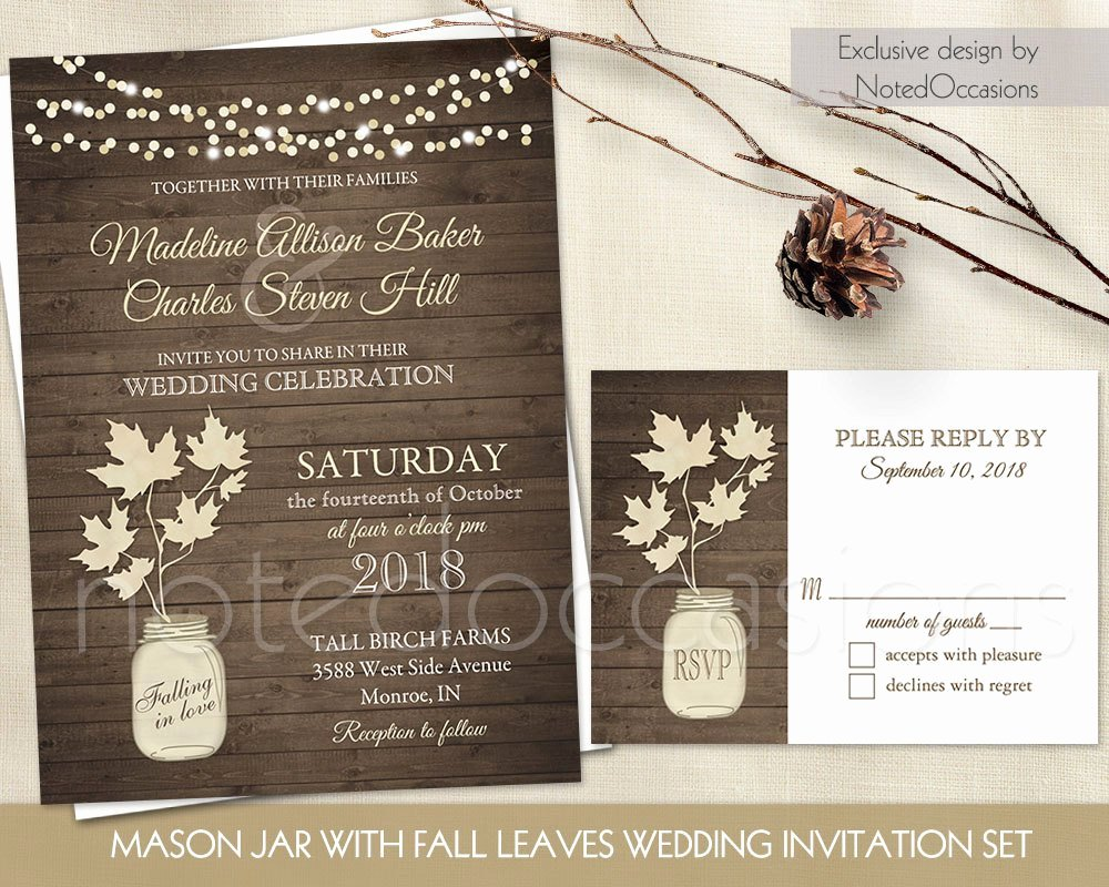 Mason Jar Wedding Invitation Rustic Mason Jar Country Wedding