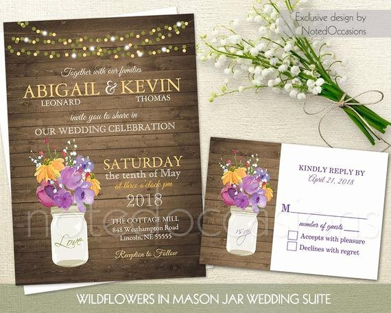 Mason Jar Wedding Invitation Set Printable by Notedoccasions