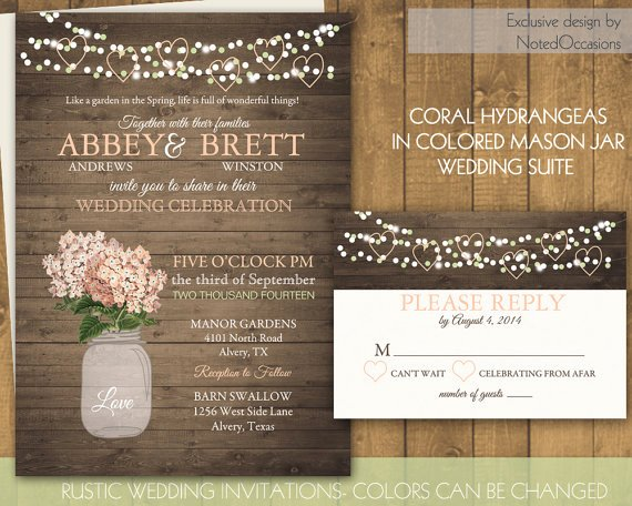 Mason Jar Wedding Invitations Rustic Wedding Invitations