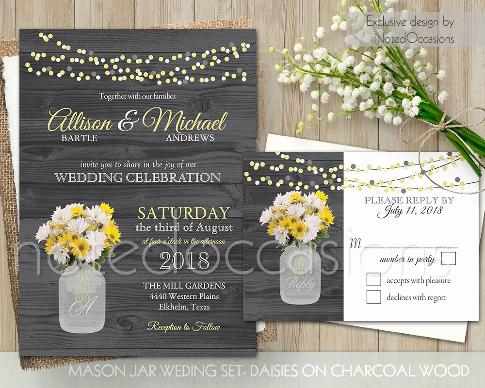 Mason Jar Wedding Invitations Set Rustic by Notedoccasions