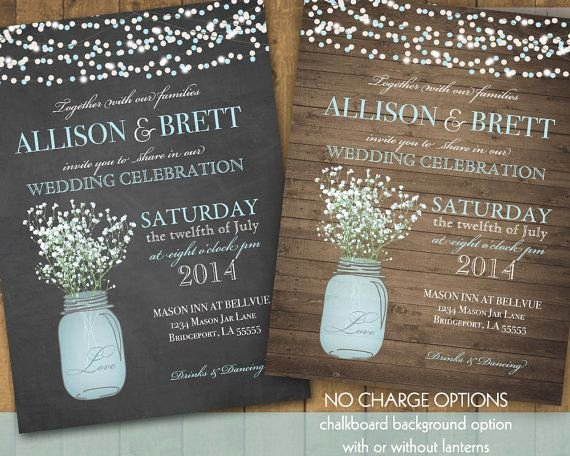 Mason Jar Wedding Invitations Suite Rustic Country Baby