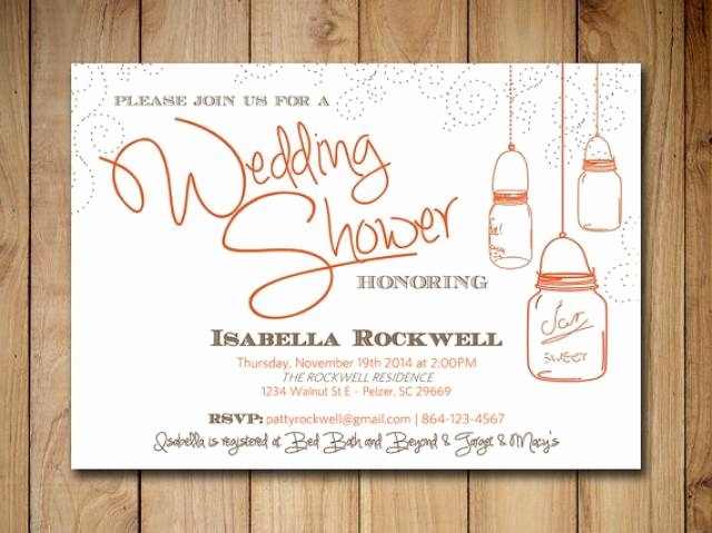 Mason Jar Wedding Shower Invitation Bridal Shower Word