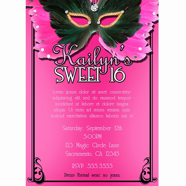 Masquerade Sweet 16 Invitations Template