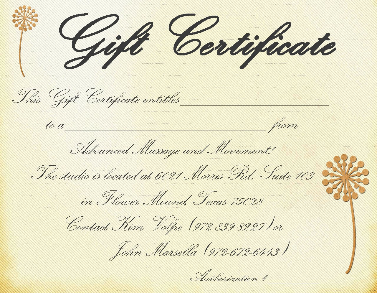 Massage Gift Certificate format Templates Resume