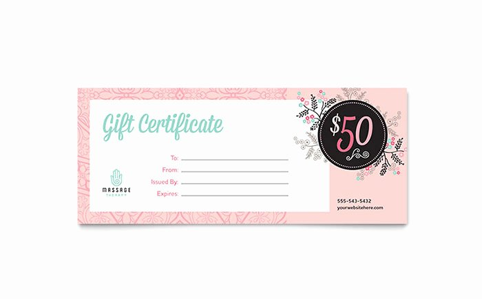 Massage Gift Certificate Template Word & Publisher