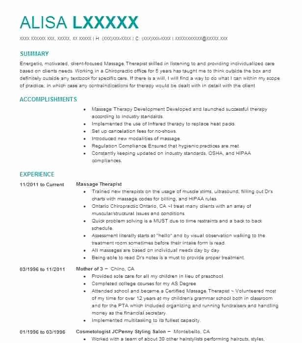 Massage Resume Examples Best Resume Collection