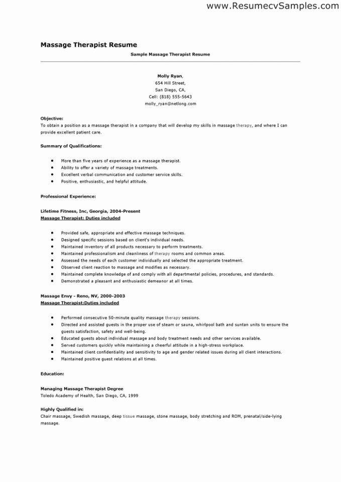 Massage therapist Resume