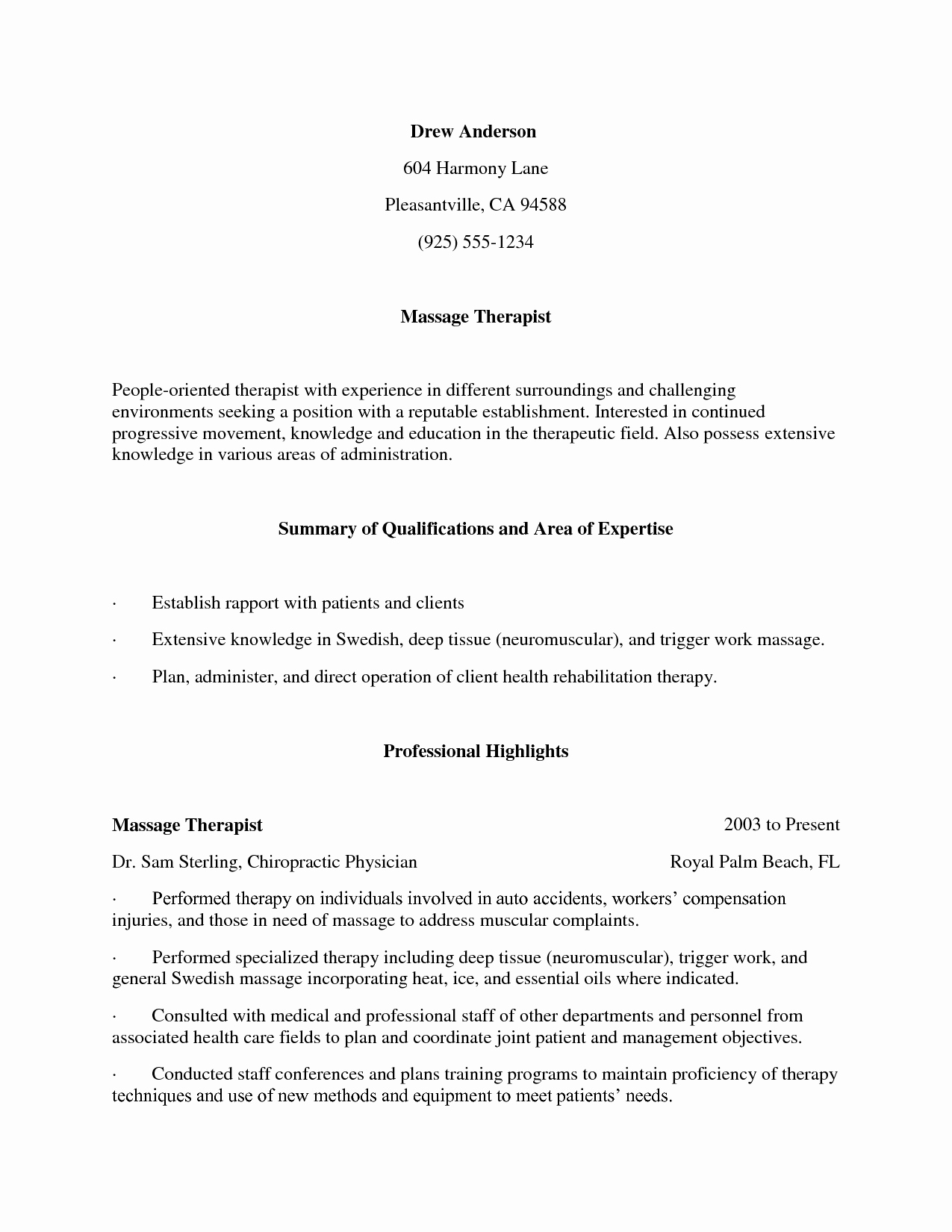 Massage therapist Resume Objectives Cover Letter Samples