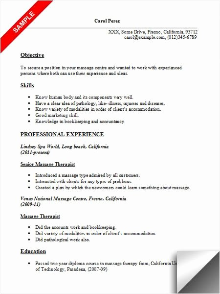 Massage therapist Resume Sample Resume Examples