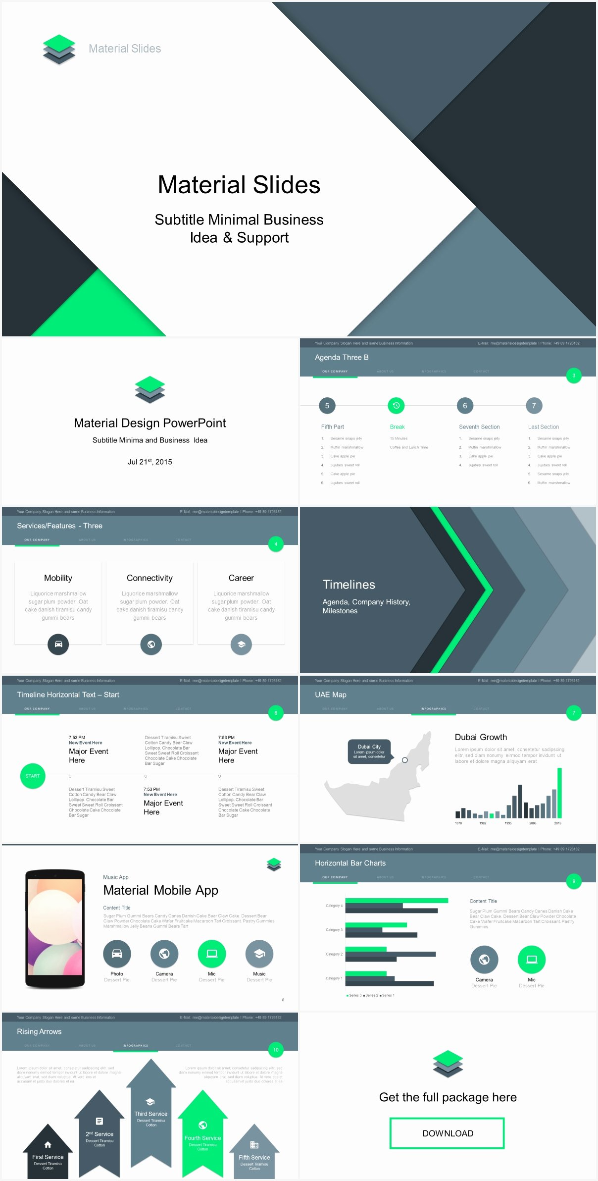 Material Design Powerpoint Template Just Free Slides