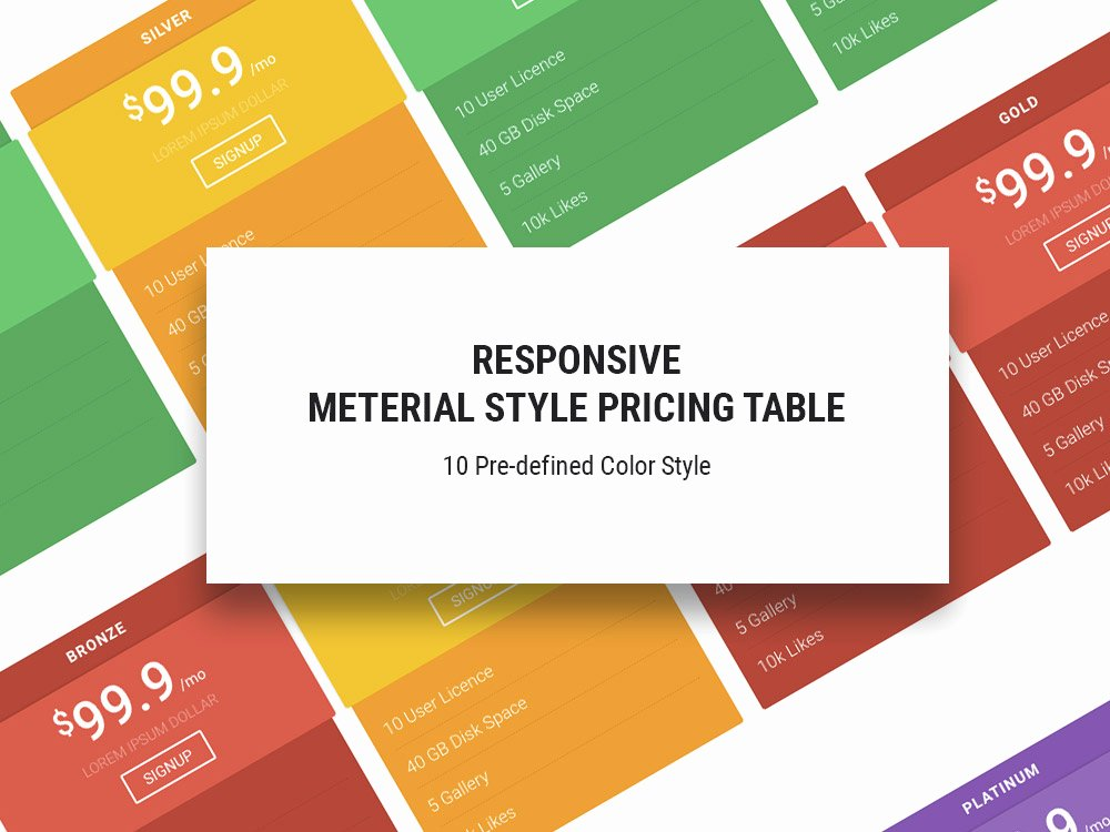 Material Free Responsive Pricing Table Template Uicookies