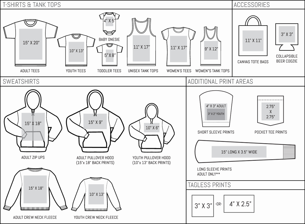 Max Print Sizes — American Icon Merchandise