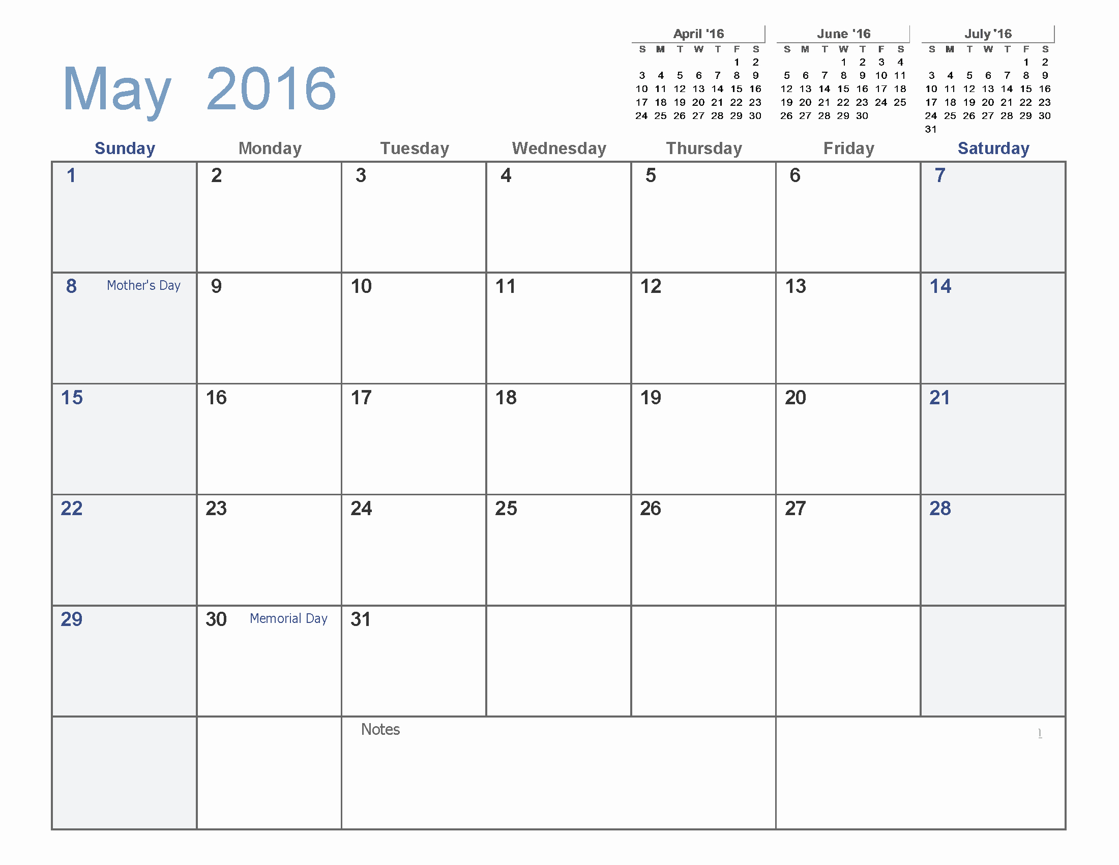 May 2016 Blank Templates [pdf Word Excel]