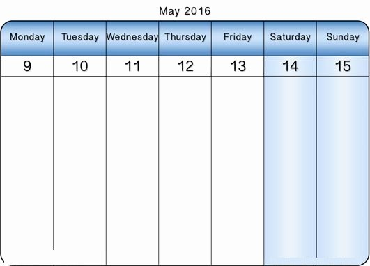 May 2016 Weekly Calendar Templates