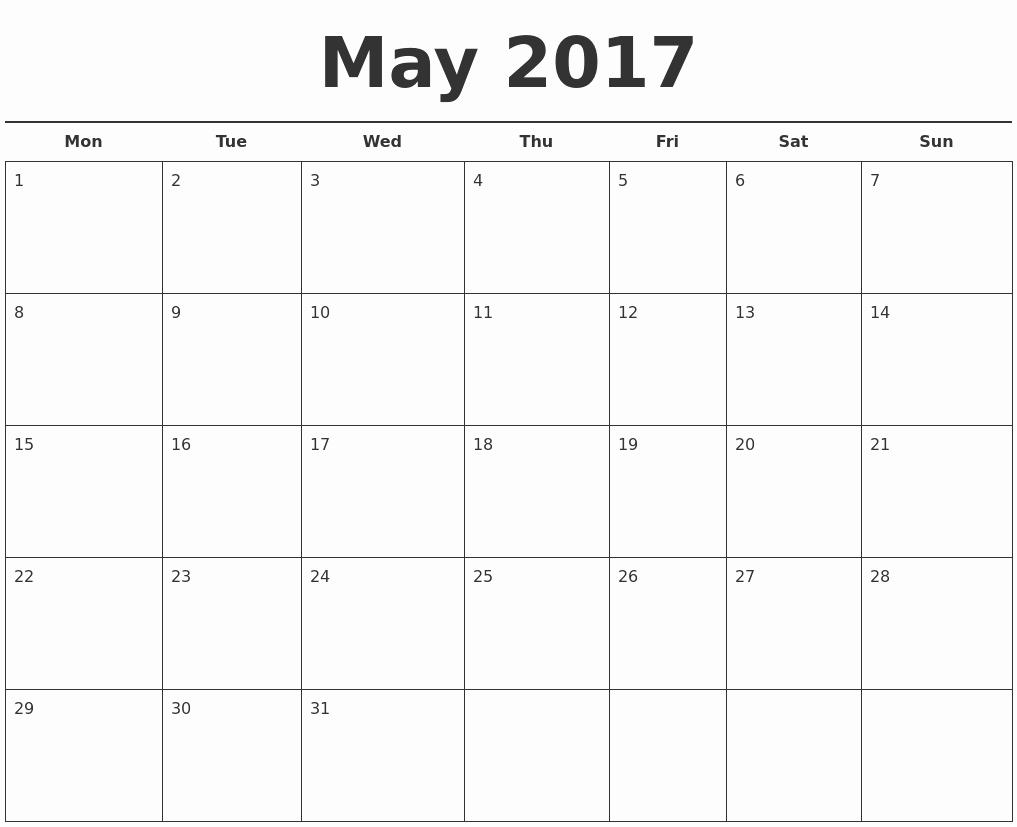 May 2017 Free Calendar Template