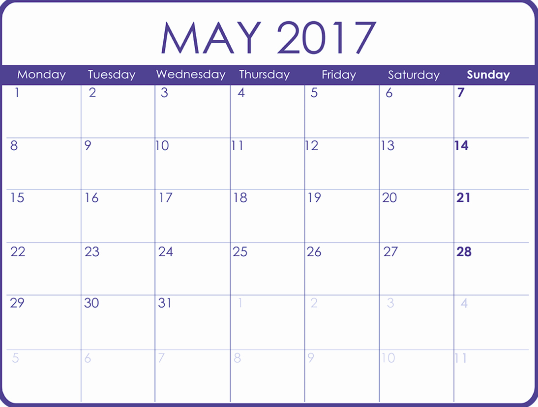 May 2017 Printable Calendar Template Holidays Excel
