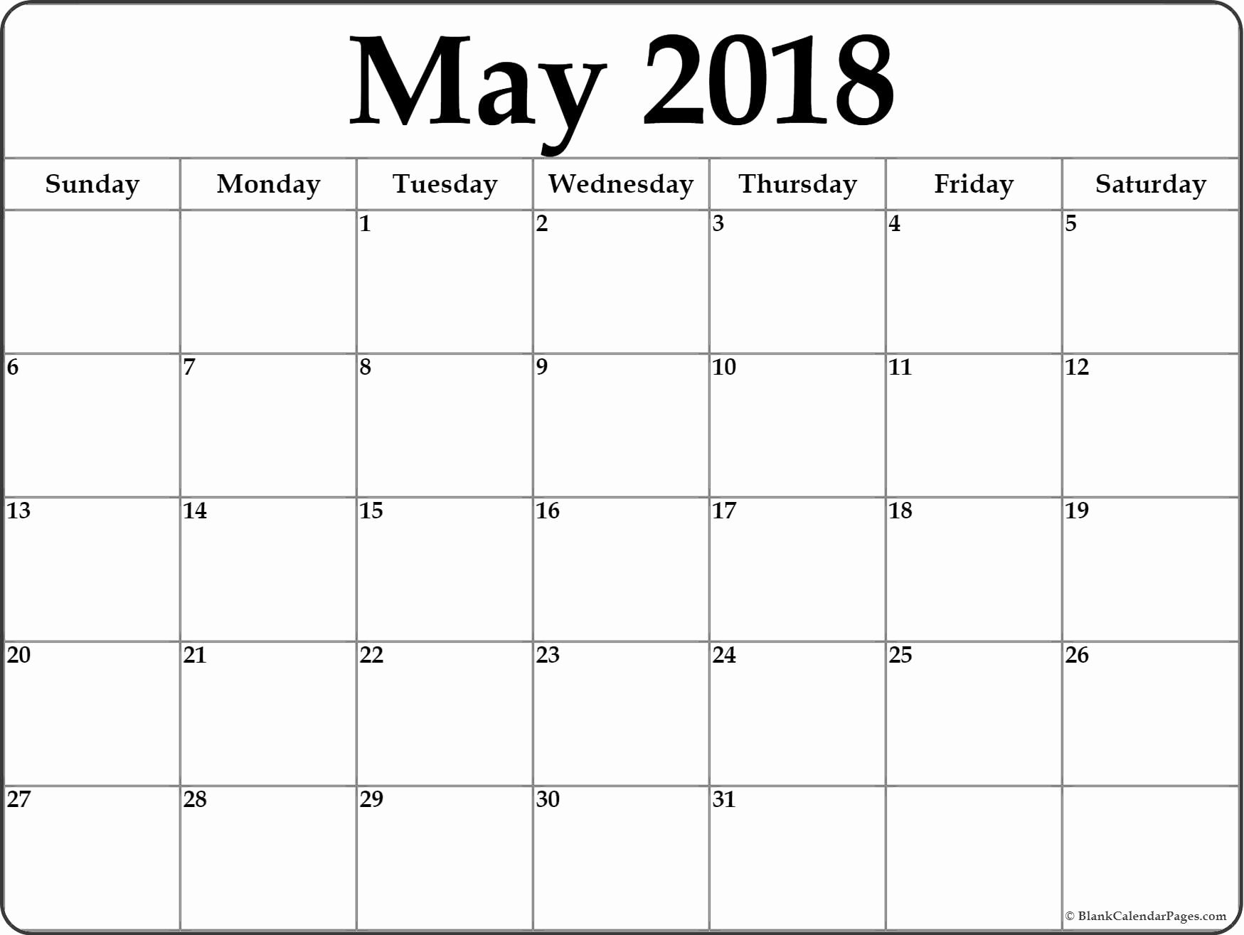 May 2018 Blank Calendar Collection