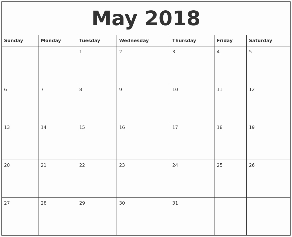 May 2018 Free Printable Calendar Templates