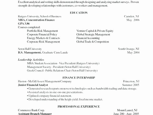 Mba Admission Resume Resume Application Sample Resume for