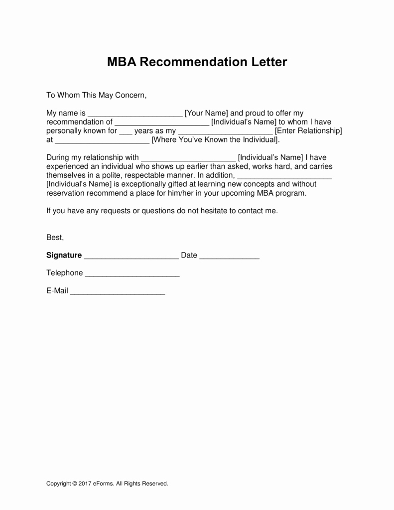 Mba Letter Re Mendation Template