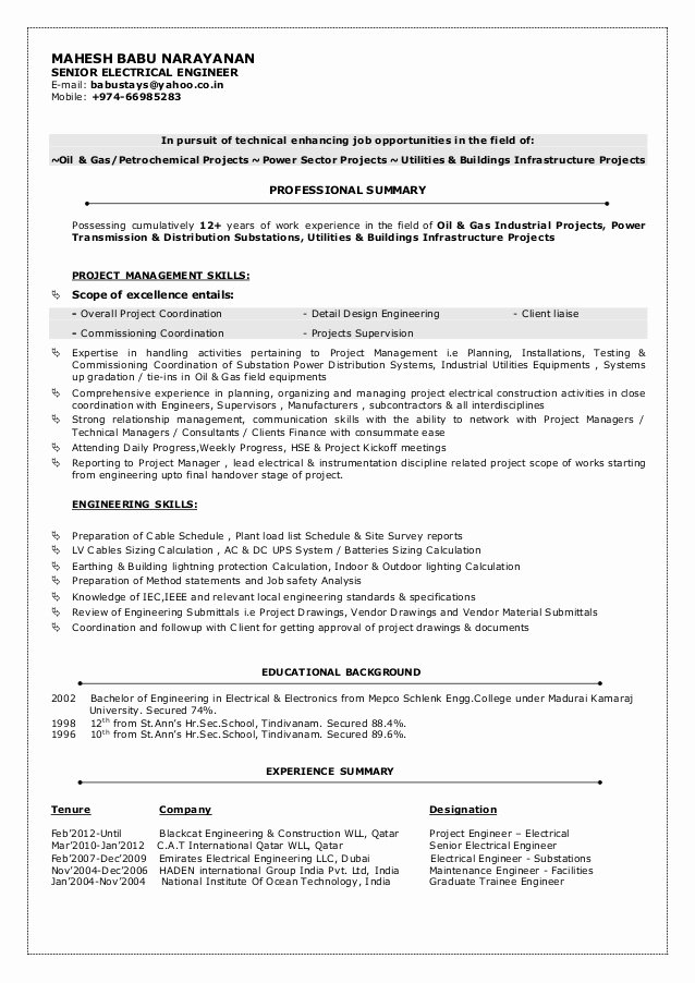 Mbn Cv Senior Electrical Engineer