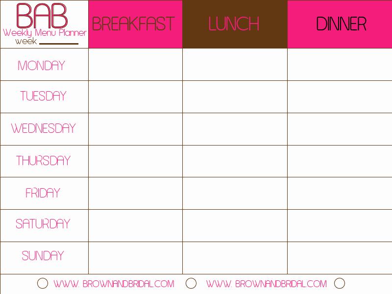 Meal Planning Calendar Template