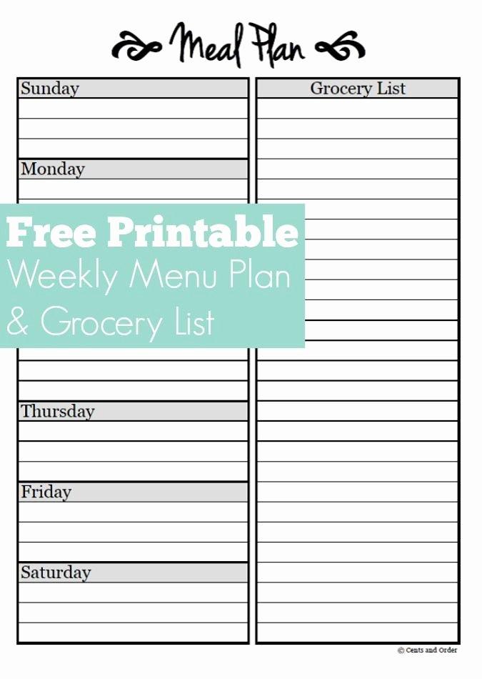 Meal Planning Free Weekly Menu Planner Printable