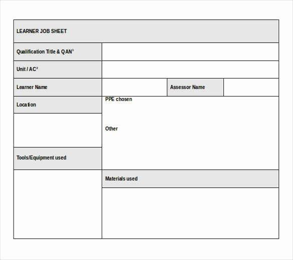 Mechanic Job Card Template Workshop Job Sheet Template
