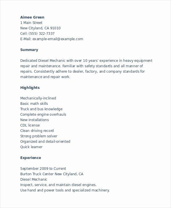 Mechanic Resume Template 6 Free Word Pdf Document