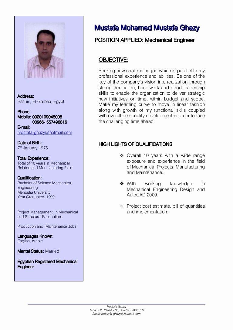 Mechanical Engineer Cv