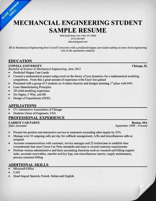 Mechanical Engineer Cv Example Resume Template