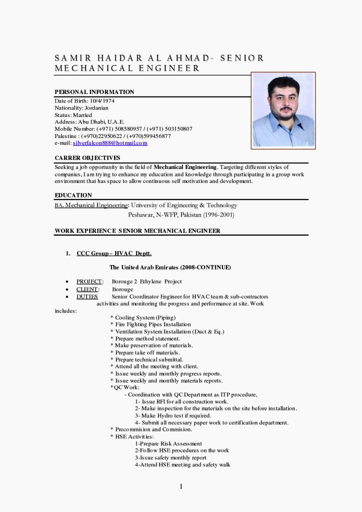Mechanical Engineer Cv Template Resume Template