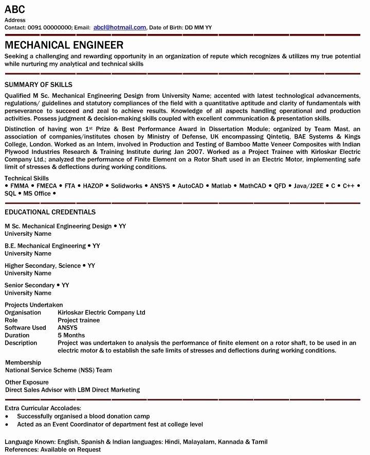 Mechanical Engineer Resume for Fresher Mechanical
