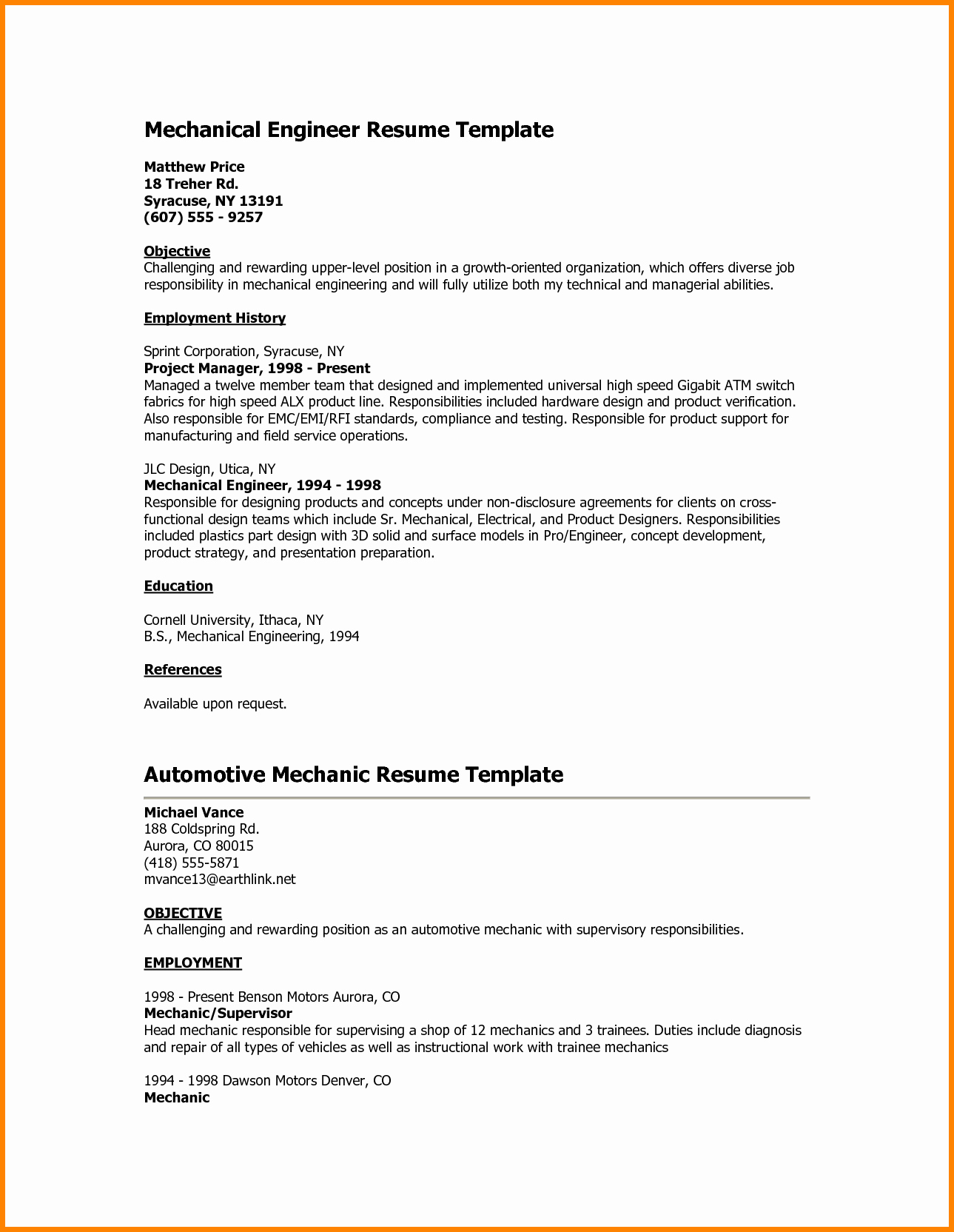 Mechanical Engineer Resume Objective Examples Sidemcicek