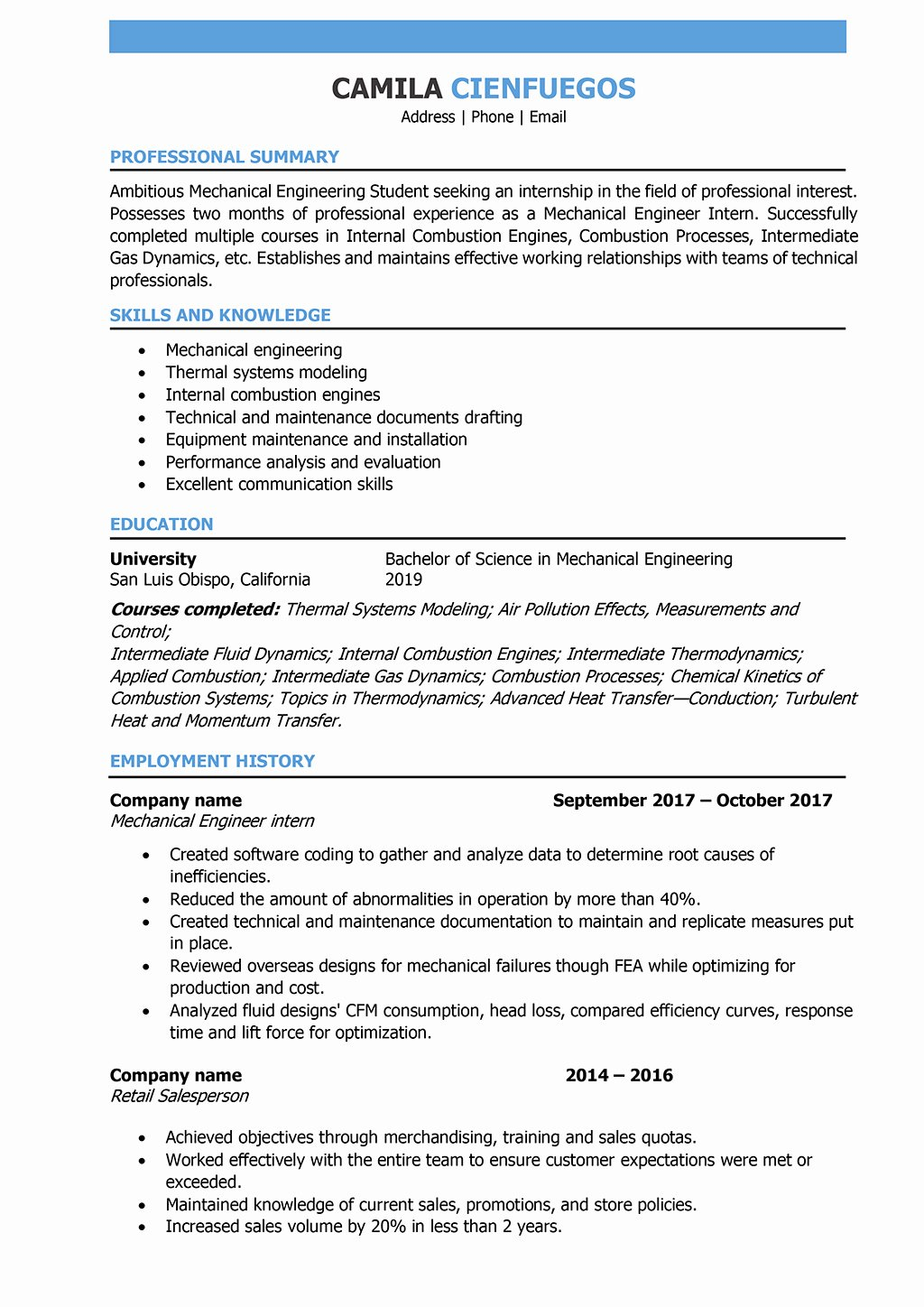 Mechanical Engineer Resume Samples and Writing Guide [10