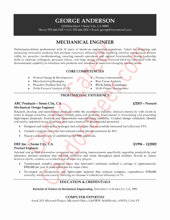 Mechanical Engineer Sample Resume by Cando Career Coaching