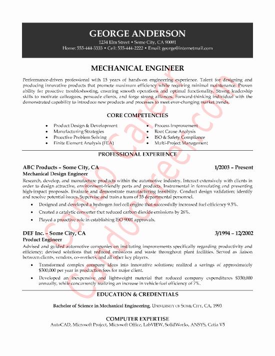 Mechanical Engineer Sample Resume by Cando Career Coaching
