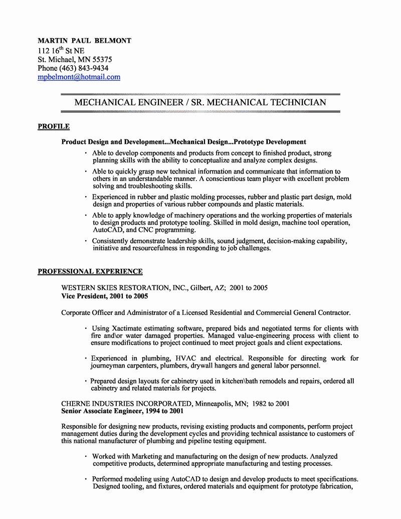 Mechanical Engineering Intern Resume Free Sample Resume