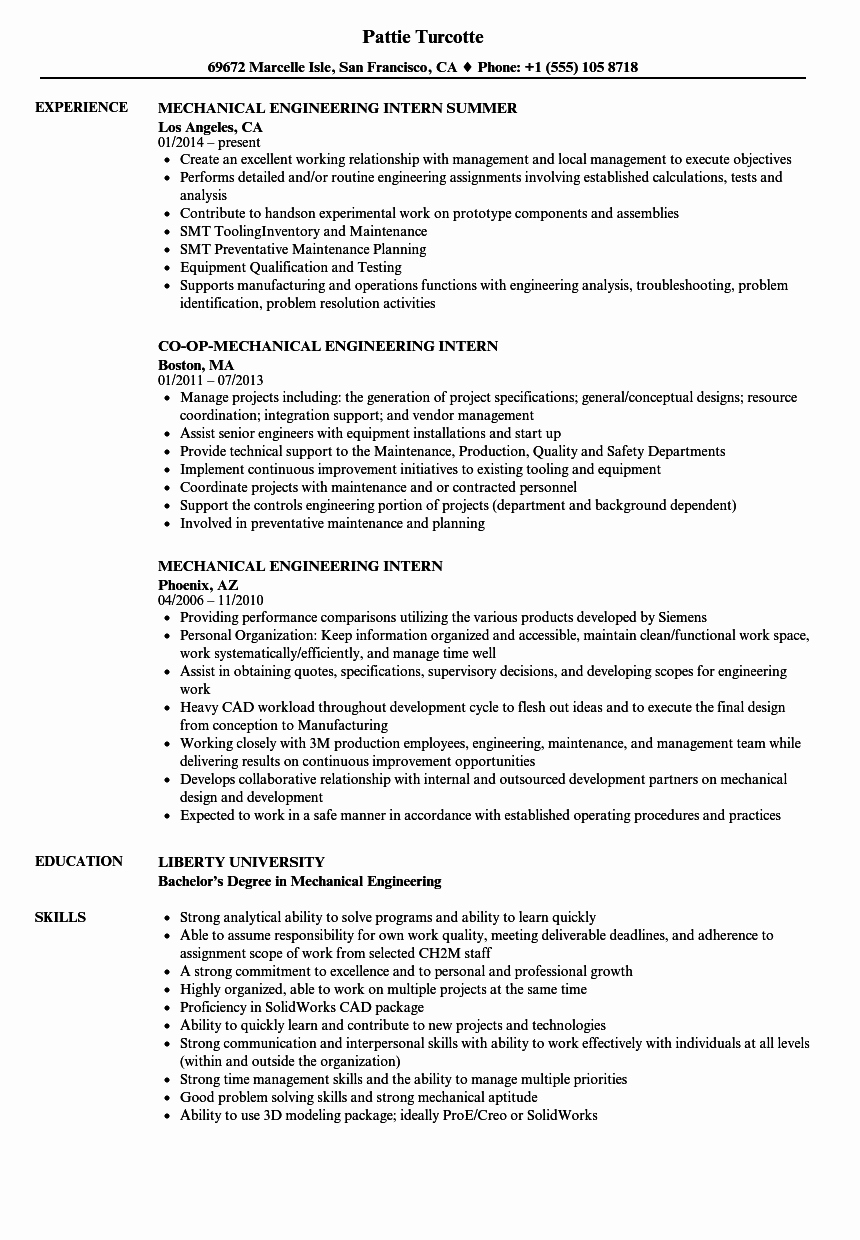 mechanical engineering intern resume sample