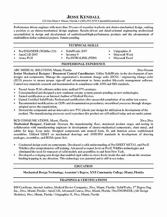 Mechanical Engineering Resume Examples Professional