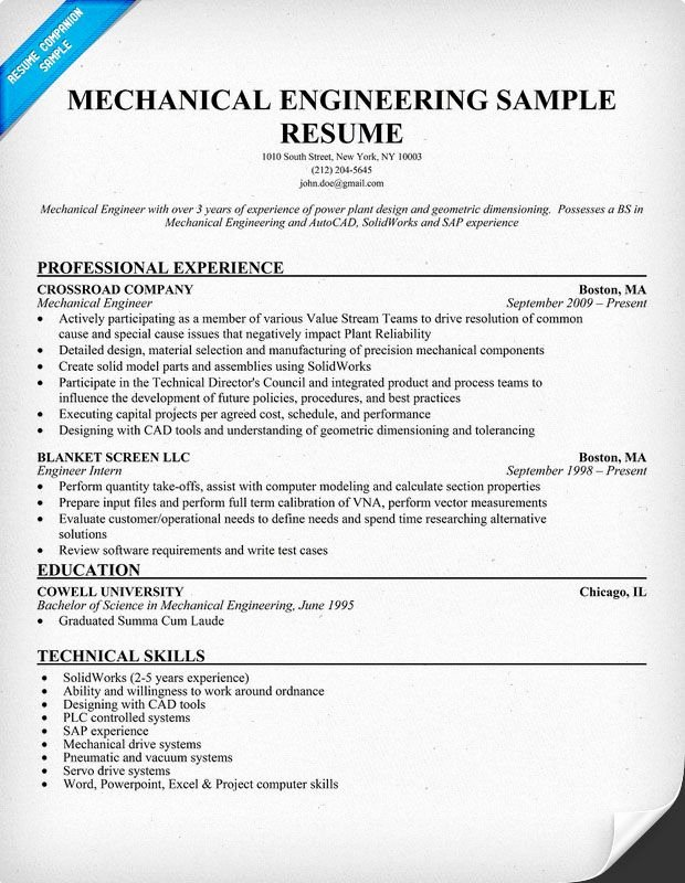 Mechanical Engineering Resume Sample Resume Panion