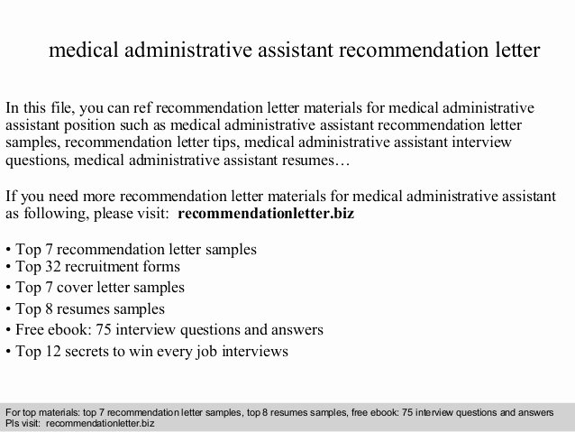 Medical Administrative assistant Re Mendation Letter