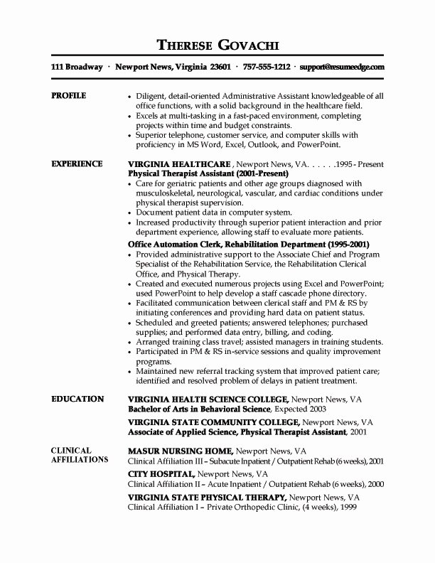 Medical Administrative assistant Resume Objective Best