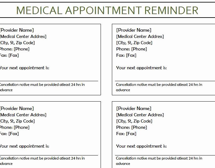 Medical Appointment Reminder My Excel Templates