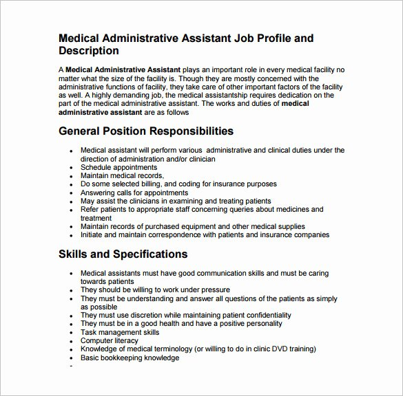 Medical assistant Job Description Template – 10 Free Word