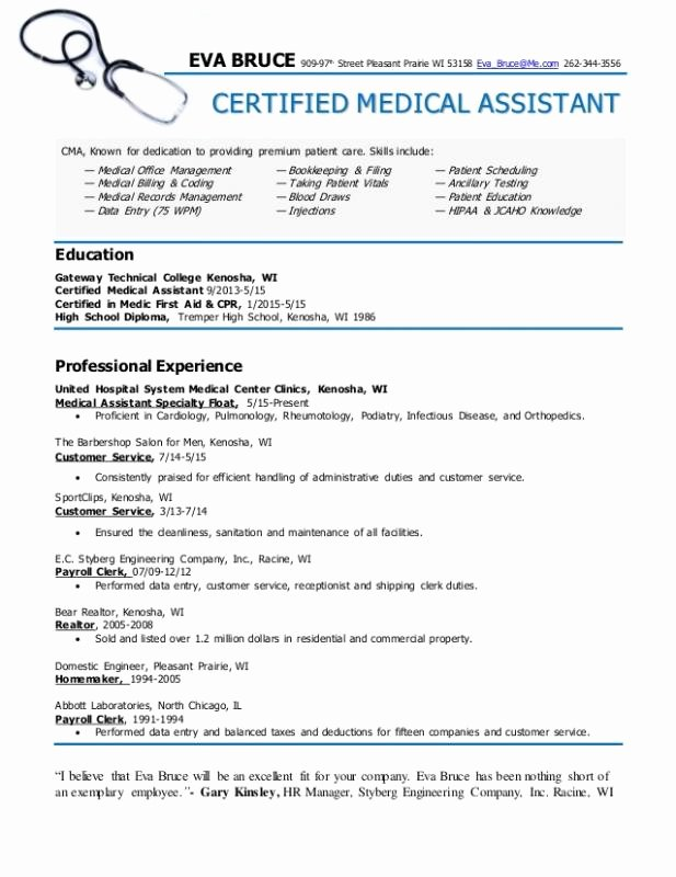 Medical assistant Objective Examples