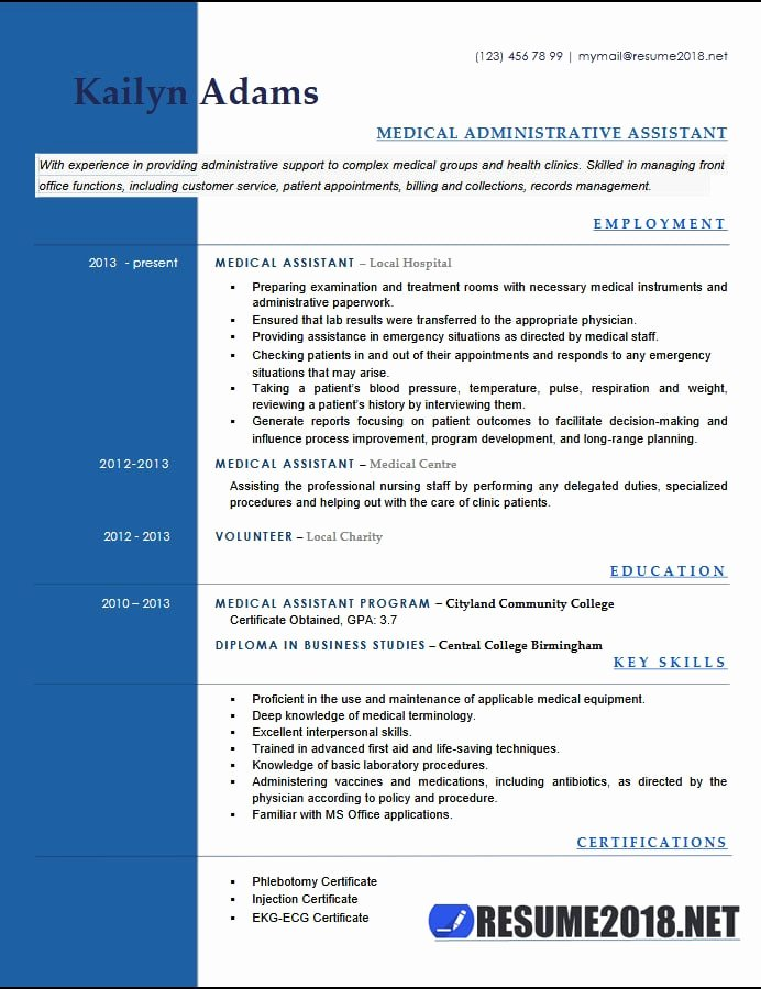 Medical assistant Resume Examples 2018 Six Templates In