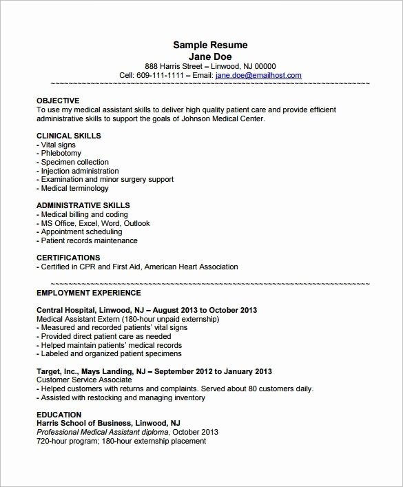 Medical assistant Resume Objective Examples Best Resume