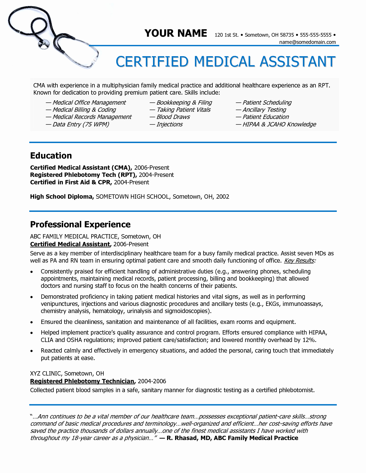 Medical assistant Resume Samples Medical assistant Job
